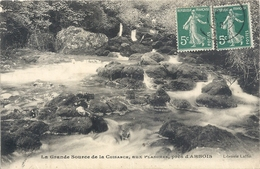 LA GRANDE SOURCE DE LA CUISANCE AUX PLANCHES Pres D'ARBOIS . AFFR LE 5-7-1912 SUR RECTO - Arbois