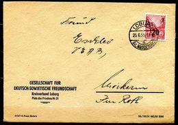 "DDR,GDR 1955 Bedarfsbrief/Cover Mit Mi.Nr439 (overprint,Typ ?) Und Tagesstempel ""Loburg,Bz.Magdeburg"" 1 Beleg - Covers"
