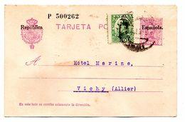 Entier Postal Espagne Surcharge Republica Espanola Valence Pour Vichy 03 - 1889-1931 Royaume: Alphonse XIII