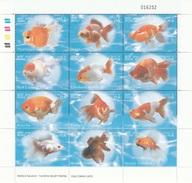 Laos, Goldfish , 2002, MNH VF Sheet Of 12 - Laos