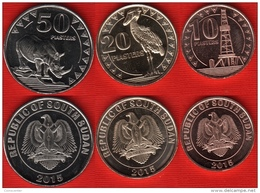South Sudan Set Of 3 Coins: 10 - 50 Piasters 2015 UNC - South Sudan
