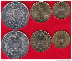 Djibouti Set Of 3 Coins: 5 - 20 Francs 1977-1999 UNC - Djibouti