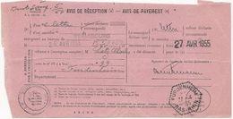 AVIS DE RECEPTION 1955 AVEC CACHET HEXAGONAL POINTILLE DE FURDENHEIM - Elsass-Lothringen