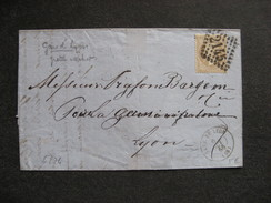 L 274 - TB Lettre Affranchie  Avec N° 21, De Gare De Lyon Pour Lyon ( Le 06/10/1866). - Marcophilie (Lettres)