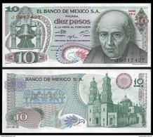 Mexico 10 PESOS 1975 Sign.6 Violet Seal P 63h UNC - Mexique