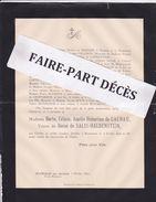 Faire-part Décès Mme Barbe Célinie Amélie Hubertine DE GALHAU, Veuve Du Baron DE SALIS-HALDENSTEIN, Beaumarais, 1892 - Décès