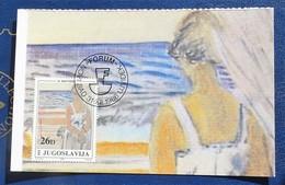 Carte Maximum Henri Matisse Femme  Devant La Mer  1984  Yougoslavie Yougoslavia - Altri