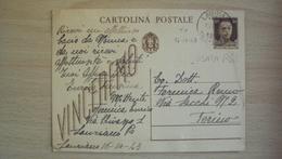 ITALIA REGNO STORIA POSTALE CARTOLINA INTERO POSTALE USATO IN R.S.I. DA LAURIANO TORINO - Other