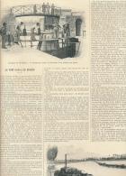1896 : Document, PONT-CANAL DE BRIARE (3 Pages Illustrées) Châtillon, La Trezée, Ecluse, La Loire, Le Toueur, Bief... - Vieux Papiers