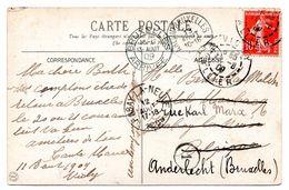Oblitération Ambulant ARLON-BRUXELLES 1 Sur CV De Vichy (F) Vers Habay-la-Neuve Et Réexpédiée Vers Anderlecht - Postmark Collection