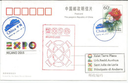 CHINE. Entier Postal Du Pavillon De La Chine à L'EXPO MILANO 2015, Avec Timbre Et Timbre à Date Chinois,adressé Andorra - 2015 – Milan (Italy)