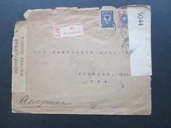 Russland 1917 / 18 R-Brief Petrograd 85 Nach Spencer Ohio USA. Zensur Zweier Länder! Viele Stempel! MIt Inhalt! - Covers & Documents