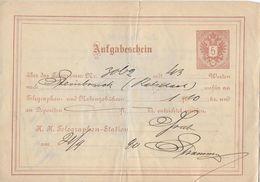 AUFGABESCHEIN TELEGRAPHENAMT → 5 Kreuzer Ganzsache Anno 1890 - Telegraphenmarken