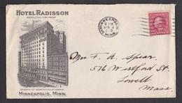 USA: Illustrated Advertorial Cover, 1920, 1 Stamp, Hotel Radisson Minneapolis, 'fire Proof' Slogan, Rare (minor Creases) - Storia Postale