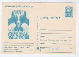 1982 ROMANIA Postal STATIONERY Illus DISARMAMENT BOMB PEACE IN EUROPE  Card Cover Stamps Anti War - Militaria
