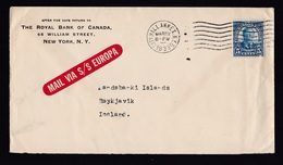 USA: Cover To Iceland 1933, 1 Stamp, Rare Label Mail Via S/S Europa, From Royal Bank Canada, City Hall NY (minor Damage) - Vereinigte Staaten