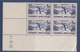 = Championnats Internationaux De Ski à Chamonix Neuf X4 N°334 Coin Daté 31.12.36 - 1930-1939