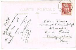 716B GANDON 3F50 SUR CPA AU 08 07 1947 TOLERANCE DE L'ANCIEN TARIF - Storia Postale