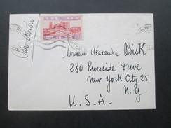 Frankreich Kolonie Tunesien 1945 Brief In Die USA Nach New York. Luftpost / Par Avion - Tunesien (1888-1955)