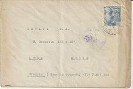 VITORIA ESPAGNE ENVELOPPE JOSE APRAIZ INGENIEUR INDUSTRIEL ENVOYE A DEVAUX SA A LYON EN ZONA NO OCUPADA ANNEE 1949 - Spain