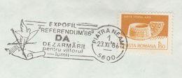 1986 ROMANIA EVENT COVER Military DISARMAMENT REFERENDUM  FOR FUTURE OF WORLD Piatra Neamt Stamps Peace - Militaria