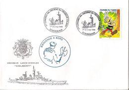 MARCOPHILIE NAVALE CROISEUR LANCE MISSILES COLBERT BIENVENUE A BORD 1ER CONGRES DES ANCIENS DU COLBERT - Postmark Collection (Covers)