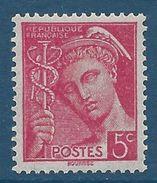 FRANCE - YT N°406 - 5 C. Rose - Type Mercure - Neuf** - TTB Etat - 1938-42 Mercure