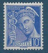 FRANCE - YT N°407 - 10 C. Outremer - Type Mercure - Neuf** - TTB Etat - 1938-42 Mercure