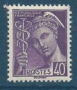 FRANCE - YT N°413 - 40 C. Violet - Type Mercure - Neuf** - TTB Etat - 1938-42 Mercure