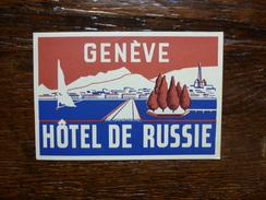 GENEVE HOTEL DE RUSSIE - Etiquettes D'hotels