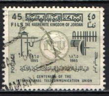 GIORDANIA - 1965 - CENTENARIO DELL'ITU - USATO - Giordania