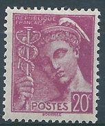 FRANCE - YT N°410 - 20 C. Lilas - Type Mercure - Neuf** - TTB Etat - 1938-42 Mercure