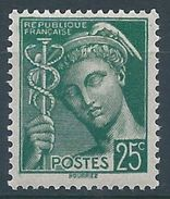 FRANCE - YT N°411 - 25 C. Vert - Type Mercure - Neuf** - TTB Etat - 1938-42 Mercure
