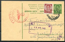 1940 Uprated Stationery Postcard, Censor - Berlin - 1931-1941 Kingdom Of Yugoslavia