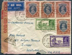 1941 India Calcutta Airmail Cover - Scotland Via Chungking China Censor - 1936-47  George VI