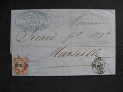 L 285 - TB Lettre Affranchie  Avec N° 16, De La Rochelle Pour Marseille ( Le 14/09/1854). - Marcophilie (Lettres)