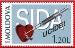 2010 - MOLDAVIA / MOLDOVA - LOTTA ALL'AIDS / STRUGGLE AGAINST SIDA. MNH - Ziekte