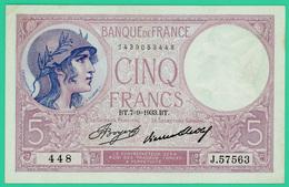 5 Francs Violet - France - N° 448/J.57563 - BT.7=9=1933.BT. -  TTB+ - - 1871-1952 Circulated During XXth