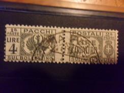 LUOGOTENENZA  PACCHI POSTALI  LIRE 4 USATO - 5. 1944-46 Luogotenenza & Umberto II