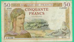 50 Francs Cérès - France - N° C.6199/390 - DG.13-5-1937.DG. - TB+ - - 1871-1952 Circulated During XXth