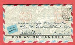 PEROU Vol Lima France 1934 Courrier Transporté  Compagnie PANAGRA  PANAM Affranchissement Mécanique 195 Centavos 3 Scans - Airplanes