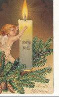 JOYEUX NOEL ))  ANGE ANGELOT ET BOUGIE / GAUFFREE - Noël
