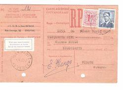 TP 926 Baudouin Lunettes-859 S/Carte Récépissé De 1355 Frs C.Verviers 2/4/1957 Pour Nidrum C.Weywertz +Etiq.trilingue - Belgique