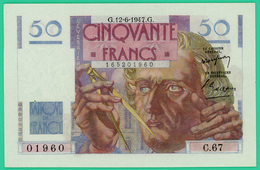 50 Francs Le Verrier - France - N° 01960/C.67 - G.12-6-1947.G. - Sup  +- - 1871-1952 Circulated During XXth