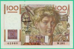 100 Francs  Jeune Paysan  - France - N° 65960/W.581 -  E.7-1-1954.E. - Neuf Mais Petit Manque En Haut - 1871-1952 Circulated During XXth