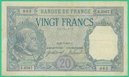 20 Francs  Bayard - France - N° E.2567/865 - G.20=7=1917.G - TB+ - 1871-1952 Circulated During XXth
