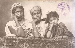 Campagne Du Maroc-casablanca Sur Cpa Fillettes Marocaines - Marcofilie (Brieven)