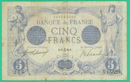 5 Francs  Bleu - France - N° 296/Y.15628 - H 27 Dec 1916 - TB+ - - 1871-1952 Anciens Francs Circulés Au XXème
