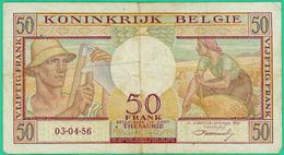 50 FRrancs - Belgique - N° X06 081231 - 03-04-56 - TB+ - - [ 6] Tesoreria