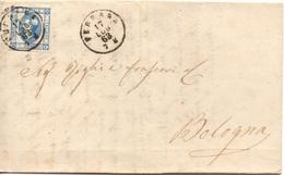 LITOGRAFICO 15c. FERRARA Per BOLOGNA - 17.7.1863 - Piego Con CONTENUTO 7/26 - Marcophilie